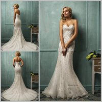 Cheap Custom Made Elegant Vestido de noiva White Lace Mermaid Wedding Dresses Sweetheart Sleeveless Court Train Button Crystal Amelia Sposa Cloe
