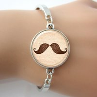 beard art - Mustache Bracelet Hipster Jewelry Silver Plated Mental Bangle beard Art Picture New Man Jewelry Glass Charm Bracelet