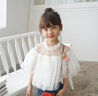 Wholesale 2016 New Kids White Top Lovely Shirt Top Pretty Gauze Short Sleeve Shirt Top White Color High Quality Kids Girl Top Shirt IX8732