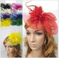Wholesale New Bridal wedding hats for brides Fascinator Hair hairbands Vintage Sweet Party evening Lace Flower Feather hair accessories