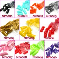 Wholesale Nail Art Soak Off Colorful Natural False Nail Acrylic Tips For French Nail Manicure Set