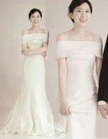 Cheap Off Shoulder Wedding Dress Mermaid Corset Back Strapless Long Women Formal Gown Bridal Dress Customized Size