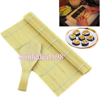 Wholesale DIY Sushi Maker Bamboo Roller Rolling Mat A Rice Paddle Scoop Easy Tool Set