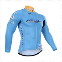 astana cycling team - WINTER FLEECE THERMAL ONLY CYCLING JACKETS CLOTHING LONG JERSEY ROPA CICLISMO ASTANA PRO TEAM BLUE A033 SIZE XS XL