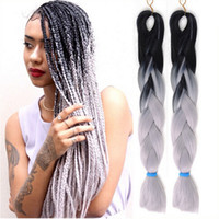 Wholesale Synthetic Braiding hair Folded inch g Ombre Grey two tone color cheap jumbo braid hair more colors