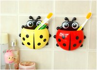 Wholesale x New Cute Funny Cartoon Yellow Red Blue Green Ladybug Sucker Suction Hook Tooth Brush Holder