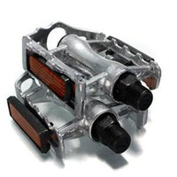 Wholesale Brand new Mountain Bicycle One Pair Multi color Aluminum Alloy Bike Pedals Yellow Light Reflector Flat