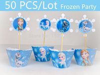 cupcake toppers - 50 Frozen Party Supplies Cupcake Topper Wrapper Cake Accessories Party Decoration Event Frozen Party Supplies Kids