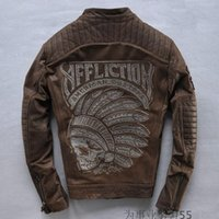 100% leather jackets - affliction Motorcycle jackets USA street locomotive leather jackets coat men favors brief paragraph Indian skeleton cow leather jacket