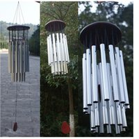 aluminum tube wind chimes - 27 Tubes New Tube Church Wind Chimes Outdoor Bells Hanging Decorations Fashion Polished Aluminum Wood Feng Shui Wind Chimes
