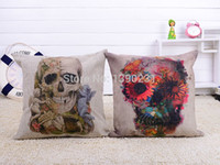 alternative case - 2pcs Goth Punk Skull Cotton Linen Cushion Cover Alternative Rock Pillow Case Throw Pillow Sofa Home Decor quot