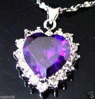 heart of the ocean - Heart of the ocean purple amethyst CZ pendant necklace