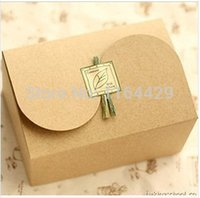 macaron boxes - High Quality Kraft Brown Paper Scalloped Small Box Biscuit Cake Macaron Mooncake Pizza Cookie Packaging Gift Box