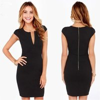 Cheap Women summer Dress European and American fashion V-neck Slim package hip pencil skirt bodycon dress black Short sleeve women dress clothing