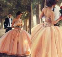 Cheap Puffy 2015 Sexy Ball Gowns Champagne Gold Cheap Quinceanera Dresses Crystals Long Strapless Backless Pageant Prom Dress Sweet 16 Tulle