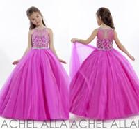 al por mayor little girl princess dresses-La princesa boda del niño de Fuschia 2016 del desfile de vestidos de bola vestidos de flores niña largo formal baratos para los cristales de vestir de las niñas de la muchacha barato