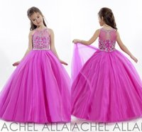 Wholesale Princess Wedding Toddler Fuschia Pageant Ball Gowns Flower Girl Dresses Formal Long Cheap For Little Girls Dress Crystals Girl s Cheap