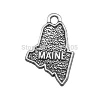 antique state maps - American State MAINE Shaped Map Antique Silver Plated Charms