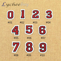 Wholesale Numbers Embroidered Red Applique Patch Iron On Number Choosing Fabric
