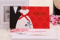 Wholesale 2015 New Cheap Traditional Tuxedo Dress Bride Groom Design Wedding Invitations Cards Chinese Red In Stock ZCZC