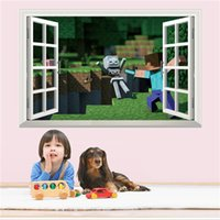 Wholesale 3D Window Minecraft Wall Stickers Kids Cartoon Removable Steve Lake Decorative Wallpaper For Home Decal Kids Room Wall Decal