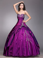 masquerade ball gowns - 2015 New Purple Quinceanera Dresses Sweet Dresses Lace Up Embroidery Sweetheart Taffeta Masquerade Debutante Ball Gowns