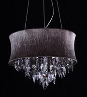 Wholesale Crystal Drum Pendant Lights - Smoke grey Crystal Drum Chandeliers Light Pendant Lamp Ceiling Fixture with Light Gray Shade Living Room Lights