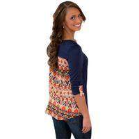 aztec print shirt - Boho Style Ethnic Print Round Neck Cotton T Shirt Women Autumn Winter Long Sleeve Tops Shirt Aztec Pocket Vintage Casual Poleras