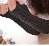 Wholesale 2015 New Fshion Women Winter Gloves Arm Warmer Knitted Mitten Fingerless Knitted Long Unisex Gloves