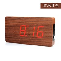 alarm clock weekday - Stylish wood LED electronic clock temperature display Voice weekday date creative wall clock groups temperature