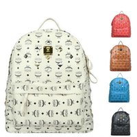 Wholesale Hot selling Punk Rivet MCM Backpacks Men Schoolbag mcm Handbags Women Leather Shoulders Bag