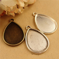 Wholesale pieces To fit MM oval cabochon antique bronze antique silver silver vintage alloy blank tray pendant settings hm644