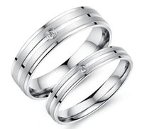 Cheap Free Shipping Titanium AAA CZ Wedding Bands Couple Rings Korean Jewelry Lovers, his and hers promise ring sets For men and women