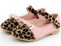 Wholesale 2015 Spring Kids Girls Shoes Girls Girl Princess PU Leopard Print Fur Bowknot Slip on Magic Tape Soft Sole Flats Shoe Pink White Black T