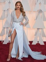 oscar - 2015 Oscar Red Carpet Celebrity Dresses th The Academy Award Sexy Deep V Neck Prom Gowns Chrissy Teigen Formal Dress Long Sleeves Split