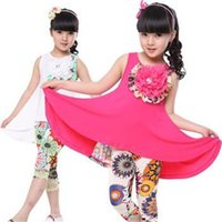 Cheap kids clothing 2015 new summer girls dress & leggings 2pcs child brand suit Modal floarl casual baby kids clothes fashion girls clothing sets