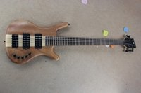 Wholesale New Arrival Nature Wood Matte Paint One Piece Maple Neck through Body V Active Pickup W String Electric Bass Guitar