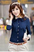 Wholesale Hot Sell New Fashion Women Shirt Women Long Sleeved Shirt Women Tops Navy blue shirt