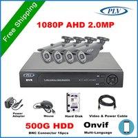 al por mayor cables de 4 canales cctv dvr casa-Sistema Smart Home Kit de vigilancia de seguridad CCTV Full HD 1080P DVR 4CH AHD 4PCS HD 1080P 2MP cámara al aire libre 500G cable hdd 100m
