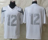 Cheap New Arrival Seahawk #12 Fan Platinum White Limited American Football Jerseys Stitched Authentic Football Uniforms Cheap Sportswear
