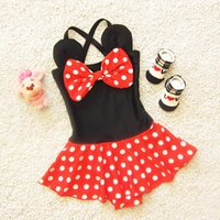 Wholesale 2016 Sweet Kids Girls Dots Ruffles Halter Swimwear Cartoon Design Summer Beach Wear Patchwork Cute Swimwear