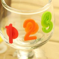 Wholesale 14pc Silicone Drink Marker Suction Cup Label Number Digit Banquet Cup Sticker Glass Marker Wedding Decoration Whiskey Wine Party