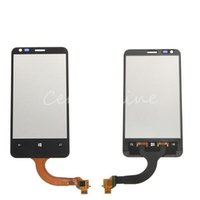 Wholesale Black Front Outer LCD Display Lens Touch Screen Digitizer With Frame Glass Panel Replacement Parts For Nokia Lumia