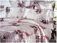 Wholesale Silk satin comforter bedding sets California king quilt duvet cover fitted sheets bed in a bag queen size bedspreads linen