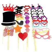 Envío Gratis 33pcs DIY Partido Máscaras Photo Booth Atrezzo Bigote En Una orden Favor-PY pista $ 18Nadie del banquete de boda del palillo