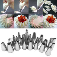 Wholesale 24pcs Stainless Steel DIY Icing Nozzles Pastry Tips Cake Ice Cream Decorating Fondant Embossing Tool