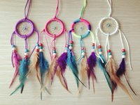 Wholesale 6cm Diameter Bag and Car Decor Small Dream Catcher Feather dreamcatchers in mixed colors