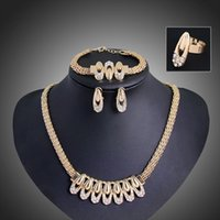 aqua clothing - African women party gold plated beads jewelry set crystal necklace bracelet earrings ring wedding accessories clothing