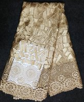 Wholesale Fashionable Chemical water soluble African Cord Lace Big Heavy Cotton patchwork fabric French Lace Fabric for sewing wedding dress CF09