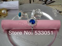 Cheap 50x50cm Pink Polyester Plain Wedding Napkin With Blue Acrylic Stone Metal Rings For Weddings&Party&Hotel Supplies